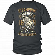 Buy Steampunk Adventure Adult Unisex T-Shirt Pop Culture Graphic Tee (Charcoal/District U