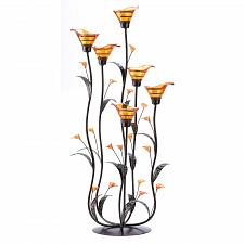 Buy 12793U - Amber Glass Cup Calla Lily Tree Iron Tea Light Candle Holder