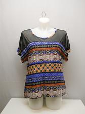 Buy Tunic Top ANGELA Womens SIZE 2XL Blue Multi Print Mesh Yokes Kimono Sleeves