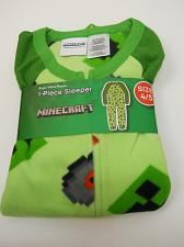 Buy Boys 1 Piece Sleeper MINECRAFT Size 4/5 Green Fleece Zip Front Crew Neck Long Sl