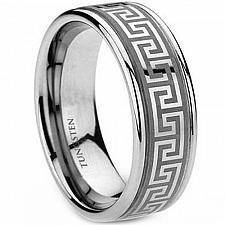 Buy coi Jewelry Tungsten Carbide greek key Patern Ring