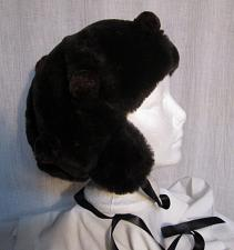 "Buy H44 Brown Plush PomPom Winter Hat Hood Ear Flaps ONE SIZE 26"" head"