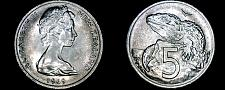 Buy 1969 New Zealand 5 Cent World Coin - Elizabeth II