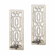 Buy *17331U - Deco Mirror White Distressed Wood Wall Sconce Candle Holders
