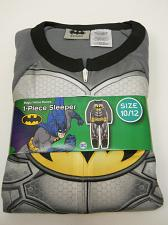 Buy Boys 1-Piece Sleeper BATMAN Size 10/12 Fleece Zip Front Crew Neck Long Sleeves