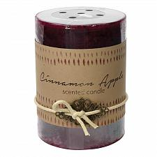 Buy :10921U - 2ct Cinnamon Apple Scented Tri-color Brown Pillar Candle 3x4