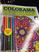 Buy set of 2 adult coloring book with colored pencils and 100 designs by colorama
