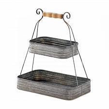 Buy *18151U - Old Style Squared Tin Metal 2-Tier Basket