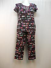Buy Women 2PC Knit Pajama Set SIZE S Black Verbiage Short Sleeves Crop Pants SECRET