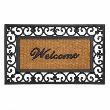"Buy *17417U - Welcome Entry Way Rubber & Coir 30"" Door Mat Fleur-De-Lis Framed"