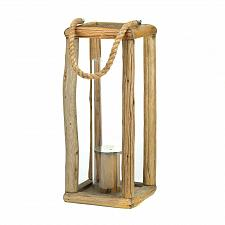 "Buy *16174U - Sylvan Hurricane Glass 27 1/2"" Wood Pillar Candle Holder Lantern"