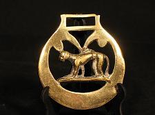 Buy Vintage decorative horse tack bridle harness brass medallion dog hunting dog