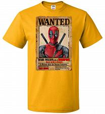 Buy Deadpool Wanted Poster Youth Unisex T-Shirt Pop Culture Graphic Tee (Youth L/Gold) Hu