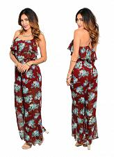 Buy SUGARMINT Women's Jumpsuit Sheer Brown Floral Wide Legs Spaghetti Straps Lined