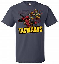 Buy Tacolands Unisex T-Shirt Pop Culture Graphic Tee (2XL/J Navy) Humor Funny Nerdy Geeky