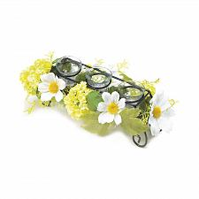 Buy *18009U - Blooming Faux Daisy Clear Votive Glass Iron Frame Candleholder