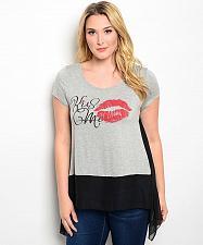 Buy Top Women Size 2XL 3XL Janette Plus Gray Scoop Neck Short Sleeve Sheer Back