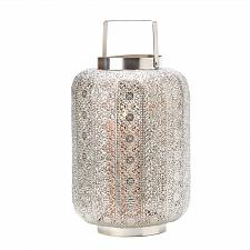 Buy 15277U - Tall Silver Lace Design Pillar Candle Lantern Lamp