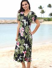Buy Ladies Nalani V-Neck Rayon Hawaiian Long Maxi Dress #RJ-W309O-DS sz: LARGE