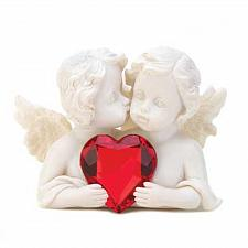 Buy 14695U - Two in Love Red Heart Cherubs Stone Look Polyresin Figurine