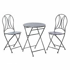 Buy *17614U - Hammered Textured Black Iron 3pc Outdoor Patio Set