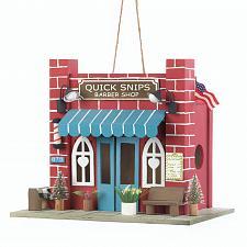 Buy *18080U - Barber Shop Red Brick Eucalyptus Wood Birdhouse