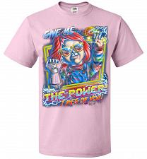 Buy Give Me The Power Chucky Adult Unisex T-Shirt Pop Culture Graphic Tee (M/Classic Pink