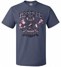 Buy Fire Type Champ Pokemon Unisex T-Shirt Pop Culture Graphic Tee (4XL/Denim) Humor Funn