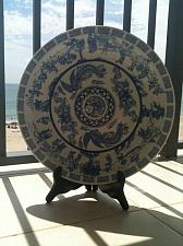 """Buy vintage large Asian serving plate blue and white approximately 14.5"""" across"""