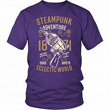 Buy Steampunk Adventure Adult Unisex T-Shirt Pop Culture Graphic Tee (Purple/District Uni