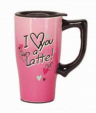Buy :10569U - I Love You A Latte Pink 16oz Ceramic Travel Mug