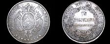Buy 1872-PTS FE Bolivian 1 Boliviano World Silver Coin - Bolivia