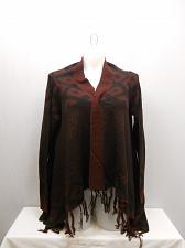 Buy Cardigan Swing Wrap Womens SIZE 2XL FADED GLORY Burgundy Geometric Long Sleev