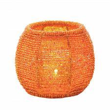 Buy *17325U - Orange Beaded Frame Glass Cup Votive Candle Holder