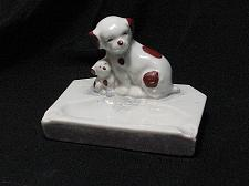 Buy Vintage Porcelain Dog and Puppy Figural Ashtray Snuffer Japan