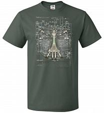 Buy Vitruvian Rick Unisex T-Shirt Pop Culture Graphic Tee (3XL/Forest Green) Humor Funny