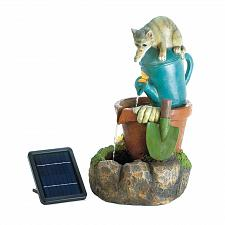 Buy *18360U - Solar Power Kitty Cat Water Fountain Yard Art