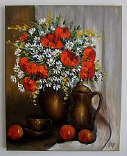 Buy Still Life Red Poppies Original Oil Painting Fruit Daisies Impasto Teacup Teapot