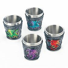 Buy *18444U - Mythical Dragons Stainless Steel Shot Glass Set Of 4