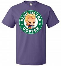 Buy Plus Ultra Coffee Unisex T-Shirt Pop Culture Graphic Tee (6XL/Purple) Humor Funny Ner