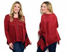 Buy JANETTE PLUS Women's Sweater Red Marl Long Sleeves Tunic Asymmetrical Size 1XL