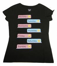 Buy Girls Emoji Text Graphic T-Shirt Black Size S 6-6X Short Sleeves Crewneck
