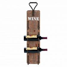Buy *18299U - Wine Bottle Wood Wall Rack Metal Handle Holds 4 Bottles
