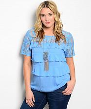 Buy Women Tiered Top Blue Lace Yoke Scoop Neck Short Lace Sleeves Size 2XL Blouse
