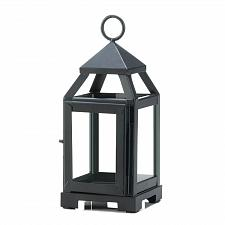 "Buy *18083U - Black Metal 8 3/4"" Contemporary Pillar Candle Lantern Clear Glass"