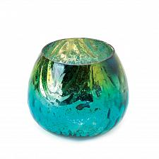 Buy *15805U - Peacock Inspired Turquoise & Golden Glass Candle Holder