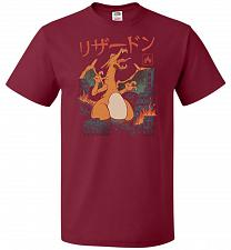 Buy Fire Kaiju Unisex T-Shirt Pop Culture Graphic Tee (S/Cardinal) Humor Funny Nerdy Geek