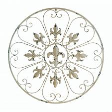 Buy *17973U - Circular Fleur De Lis Distressed Ivory Iron Wall Art Decor
