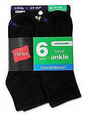 Buy 12 pack Hanes Boys Ankle ComfortBlend Assorted Black Socks #432/6B NEW!
