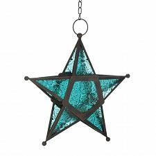 Buy *17757U - Blue Pressed Glass 5 Point Star Tea Light Lantern